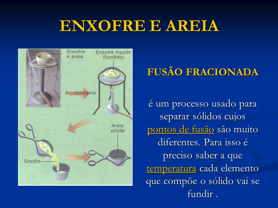 ENXOFRE E AREIA FUSÃO FRACIONADA