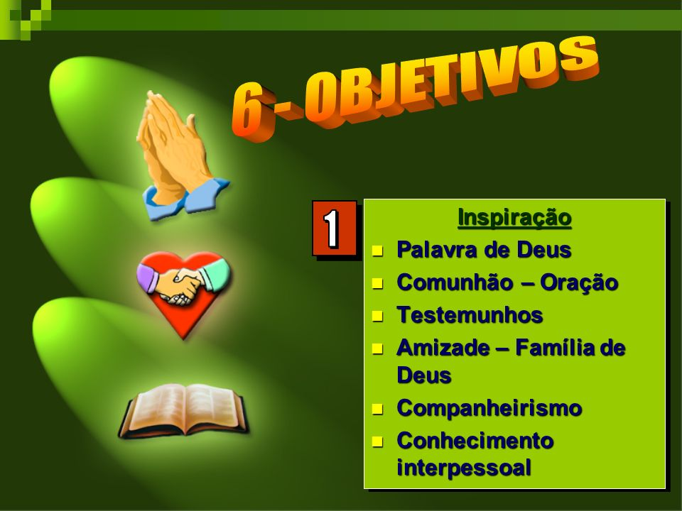 1 6 - OBJETIVOS Inspiração Palavra de Deus Comunhão – Oração
