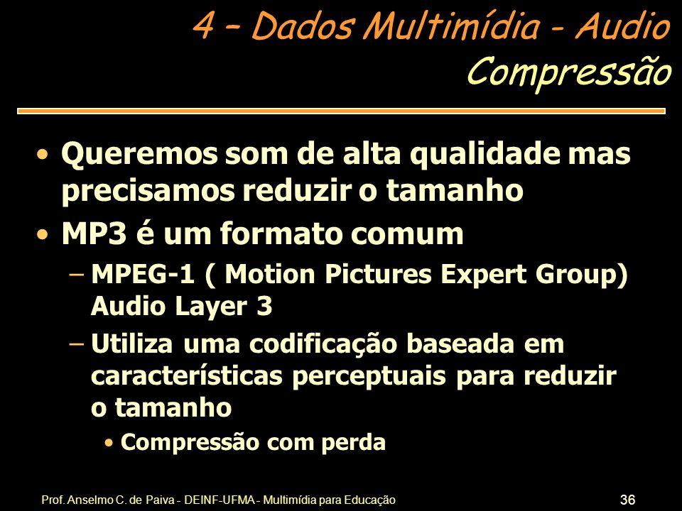 Compressão Queremos som de alta qualidade mas precisamos reduzir o tamanho. MP3 é um formato comum.