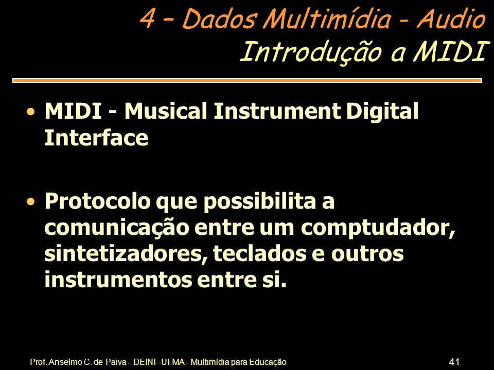 Introdução a MIDI MIDI - Musical Instrument Digital Interface
