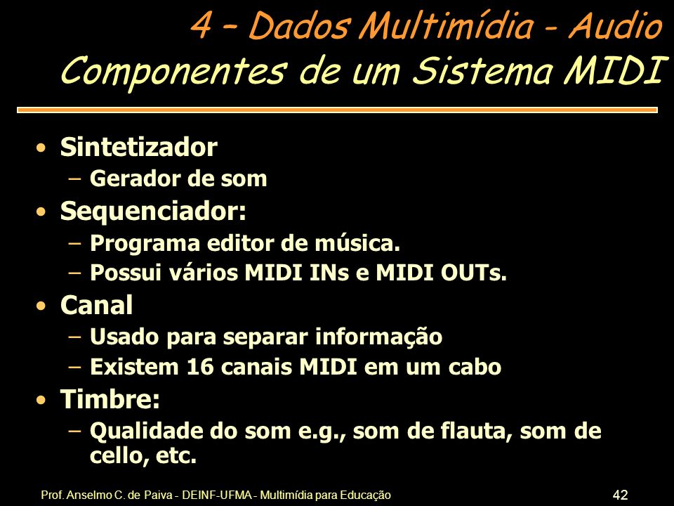 Componentes de um Sistema MIDI