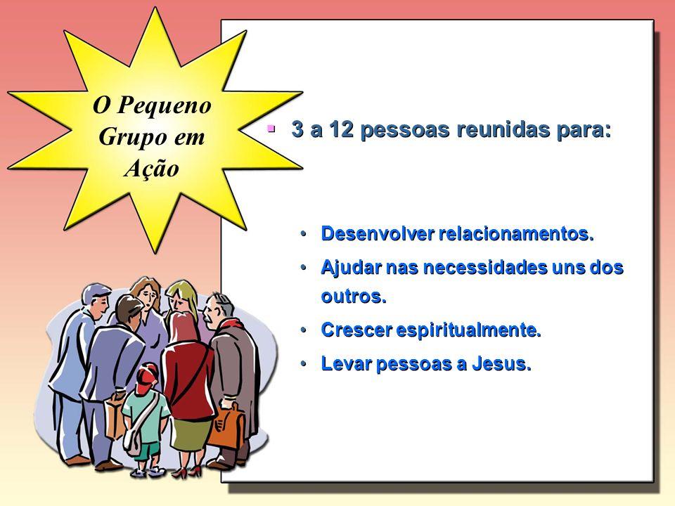 O Pequeno Grupo em Ação 3 a 12 pessoas reunidas para: