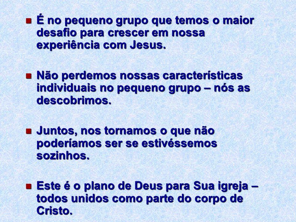 É no pequeno grupo que temos o maior desafio para crescer em nossa experiência com Jesus.
