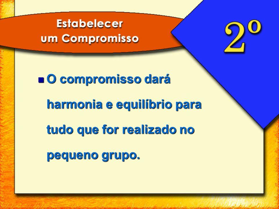 O compromisso dará harmonia e equilíbrio para tudo que for realizado no pequeno grupo.