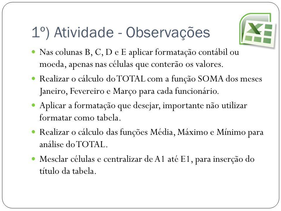 1º) Atividade - Observações