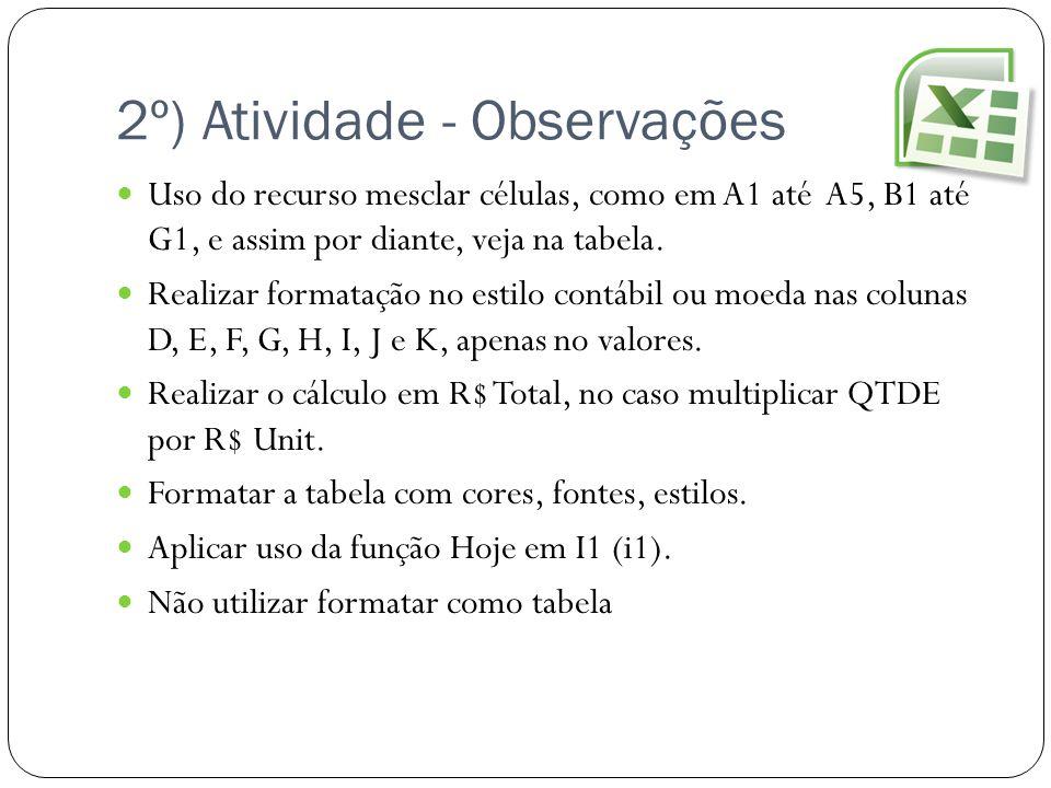 2º) Atividade - Observações