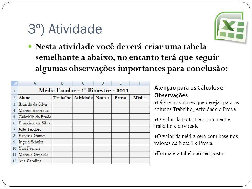 3º) Atividade