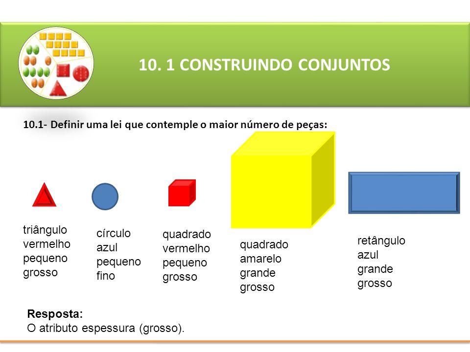 10.1- Definir uma lei que contemple o maior número de peças:
