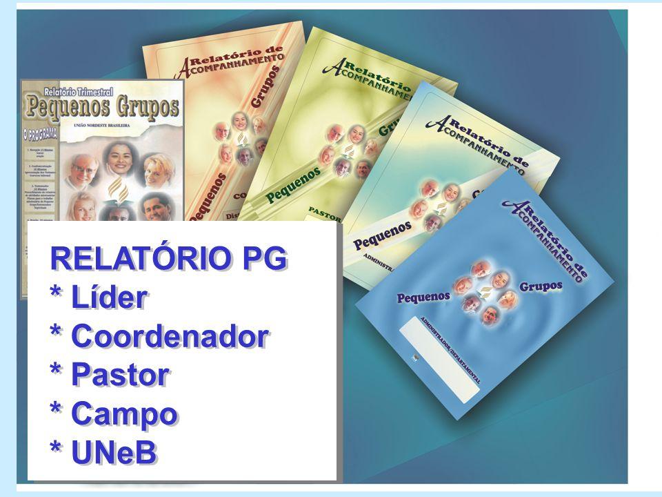 RELATÓRIO PG * Líder * Coordenador * Pastor * Campo * UNeB