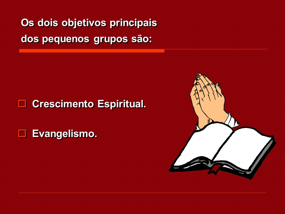 Os dois objetivos principais dos pequenos grupos são: