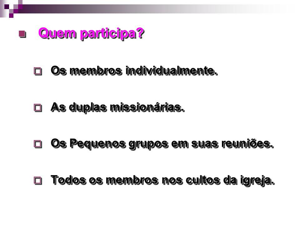 Quem participa Os membros individualmente. As duplas missionárias.