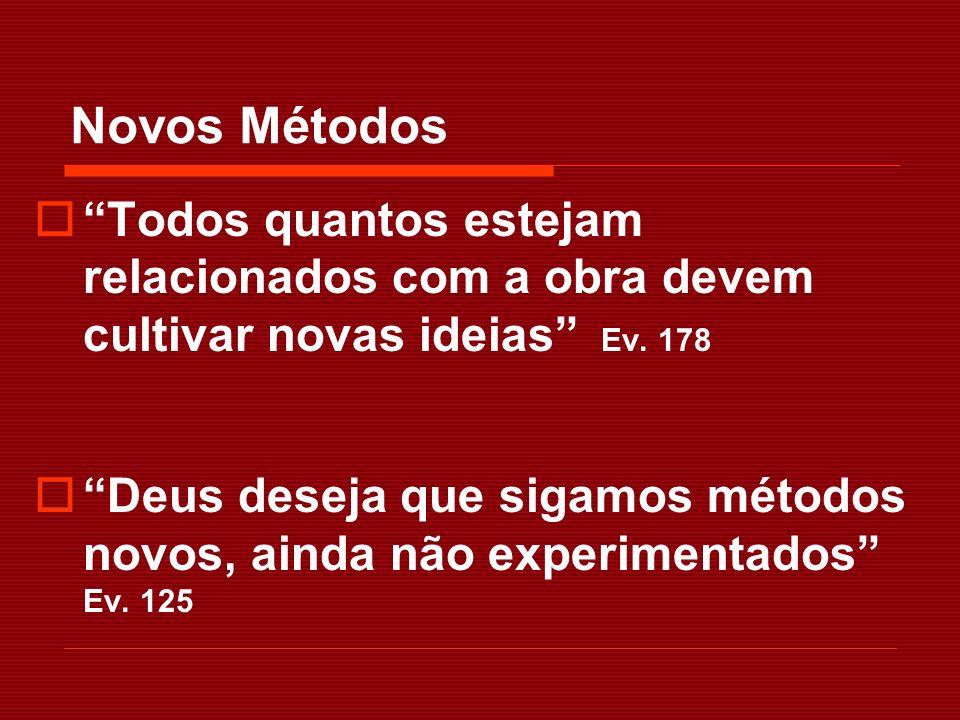 Novos Métodos Todos quantos estejam relacionados com a obra devem cultivar novas ideias Ev. 178.