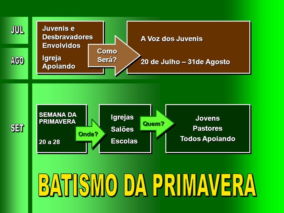 BATISMO DA PRIMAVERA Juvenis e Desbravadores Envolvidos Igreja