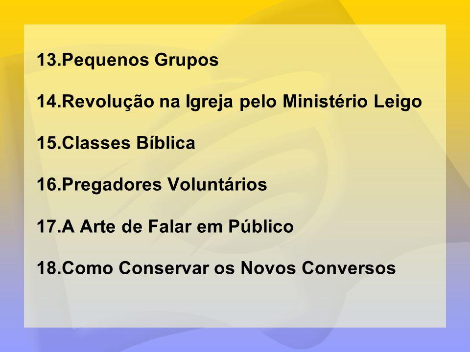 Pequenos GruposRevolução na Igreja pelo Ministério Leigo. Classes Bíblica. Pregadores Voluntários. A Arte de Falar em Público.