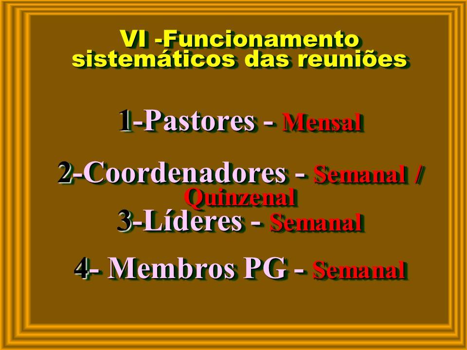 VI -Funcionamento sistemáticos das reuniões 1-Pastores - Mensal 2-Coordenadores - Semanal / Quinzenal 3-Líderes - Semanal 4- Membros PG - Semanal