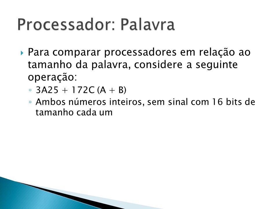 Processador: Palavra Para comparar processadores em relação ao tamanho da palavra, considere a seguinte operação: