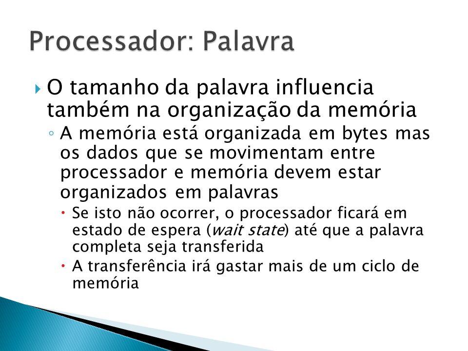 Processador: Palavra O tamanho da palavra influencia também na organização da memória.