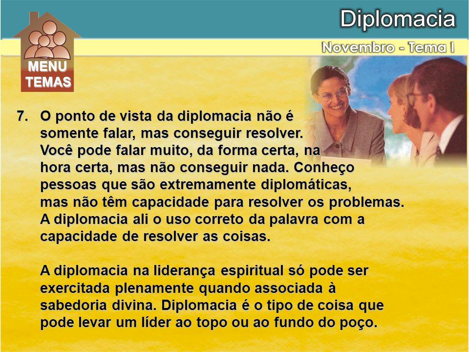 O ponto de vista da diplomacia não é