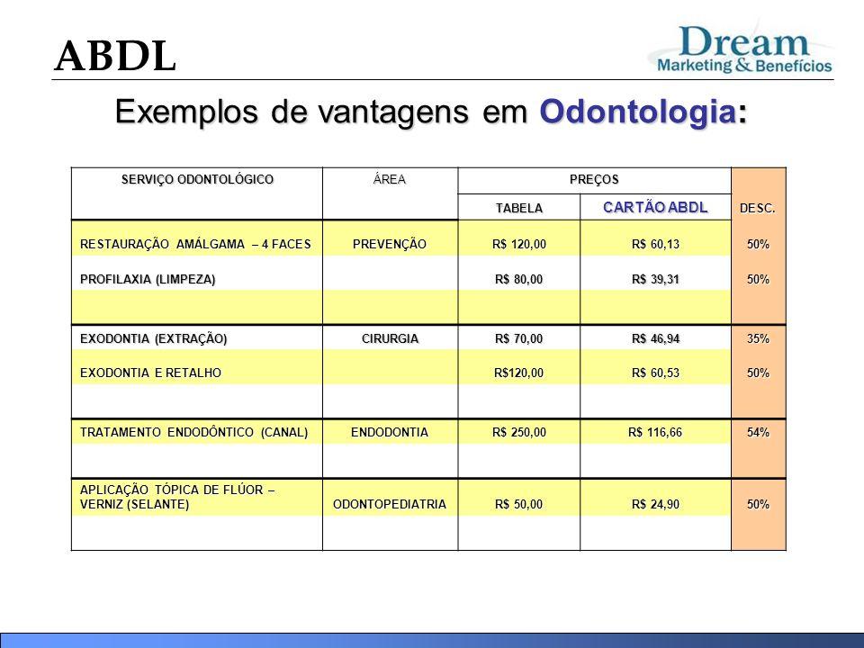 Exemplos de vantagens em Odontologia: