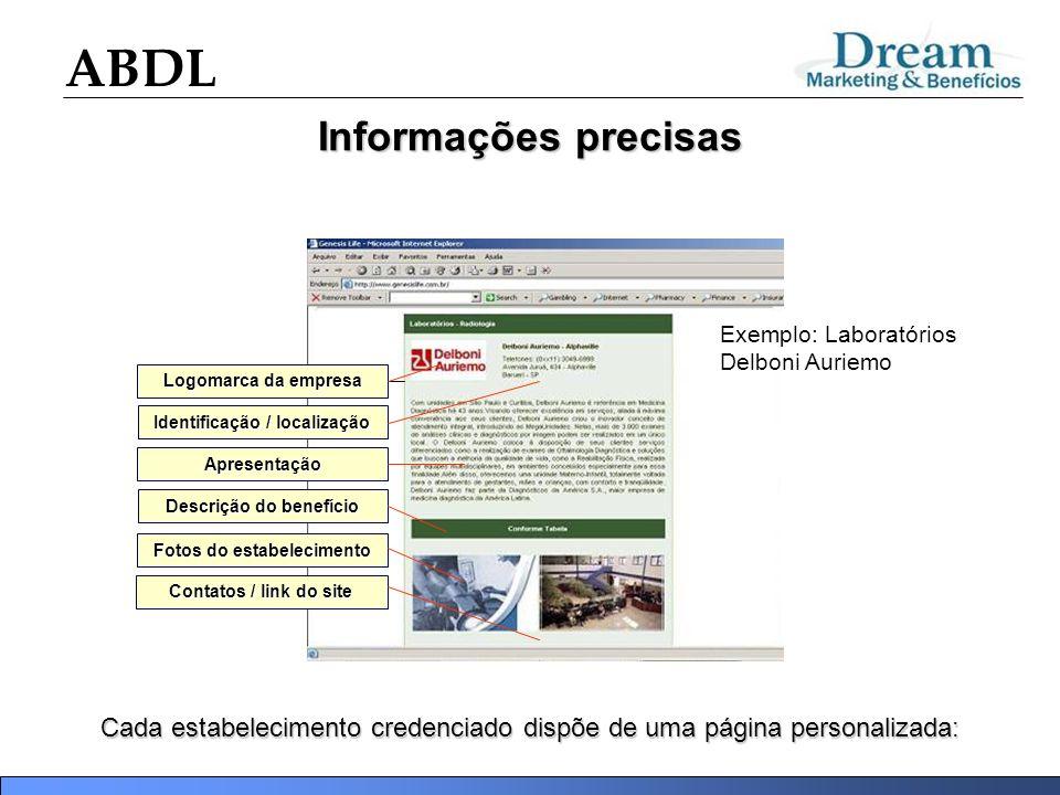 Informações precisas Exemplo: Laboratórios Delboni Auriemo. Logomarca da empresa. Identificação / localização.