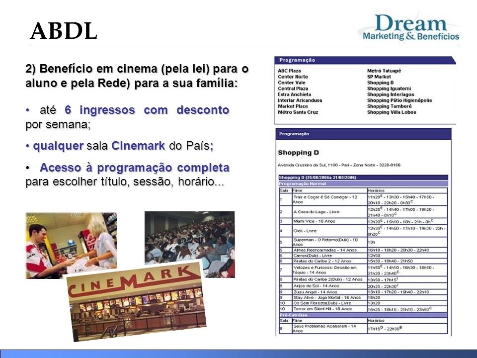2) Benefício em cinema (pela lei) para o aluno e pela Rede) para a sua família: