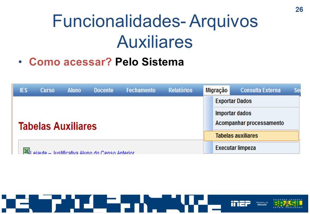 Funcionalidades- Arquivos Auxiliares