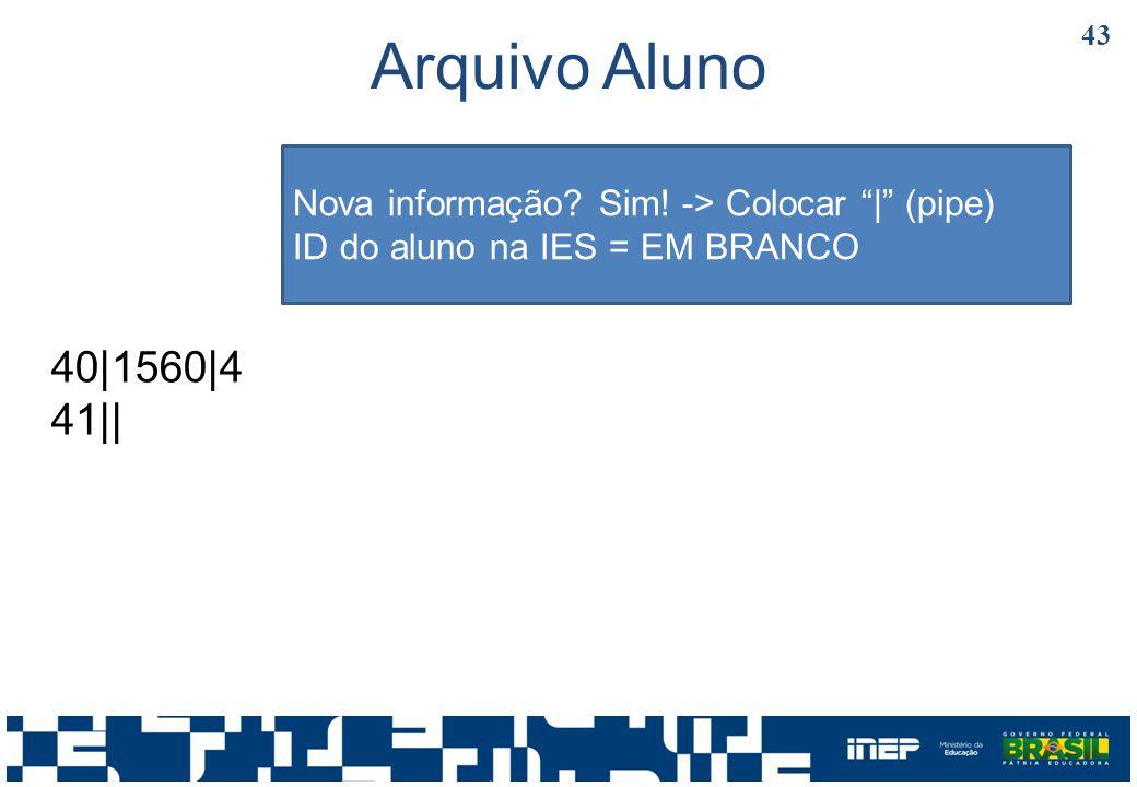 Arquivo Aluno Nova informação Sim! -> Colocar | (pipe) ID do aluno na IES = EM BRANCO. 40|1560|4.
