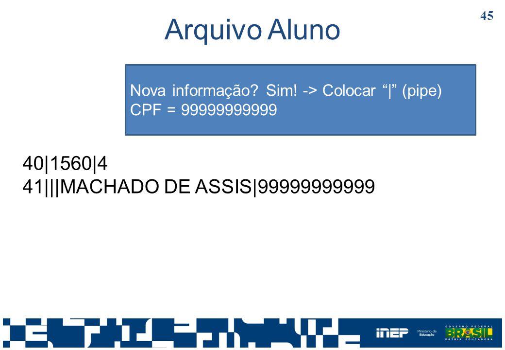 Arquivo Aluno 40|1560|4 41|||MACHADO DE ASSIS|99999999999