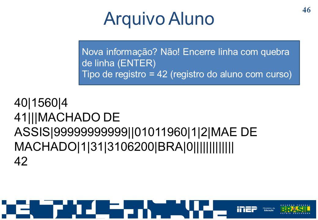 Arquivo Aluno Nova informação Não! Encerre linha com quebra de linha (ENTER) Tipo de registro = 42 (registro do aluno com curso)