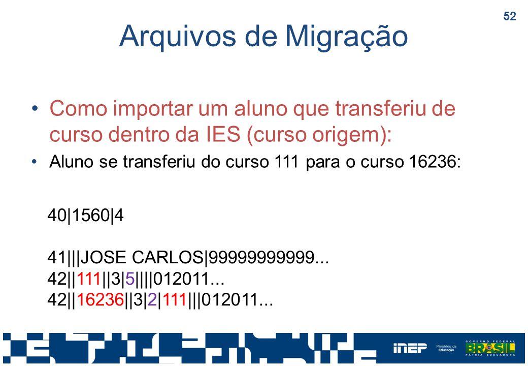 Arquivos de Migração Como importar um aluno que transferiu de curso dentro da IES (curso origem):
