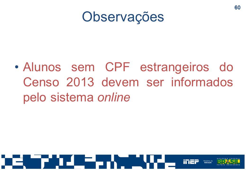 Observações Alunos sem CPF estrangeiros do Censo 2013 devem ser informados pelo sistema online