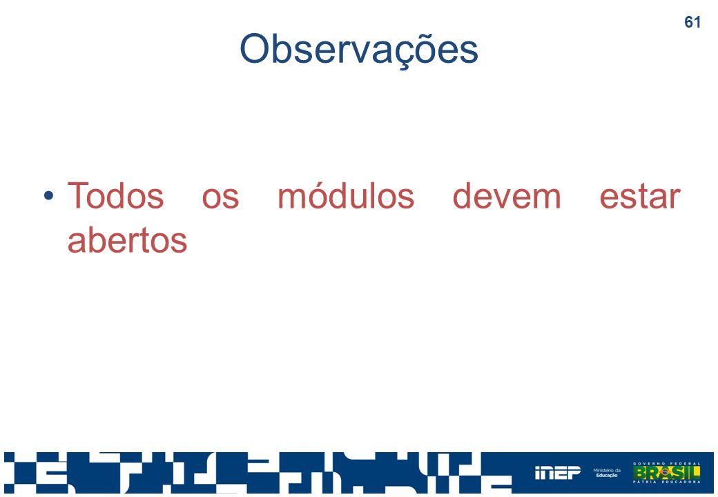 Observações Todos os módulos devem estar abertos