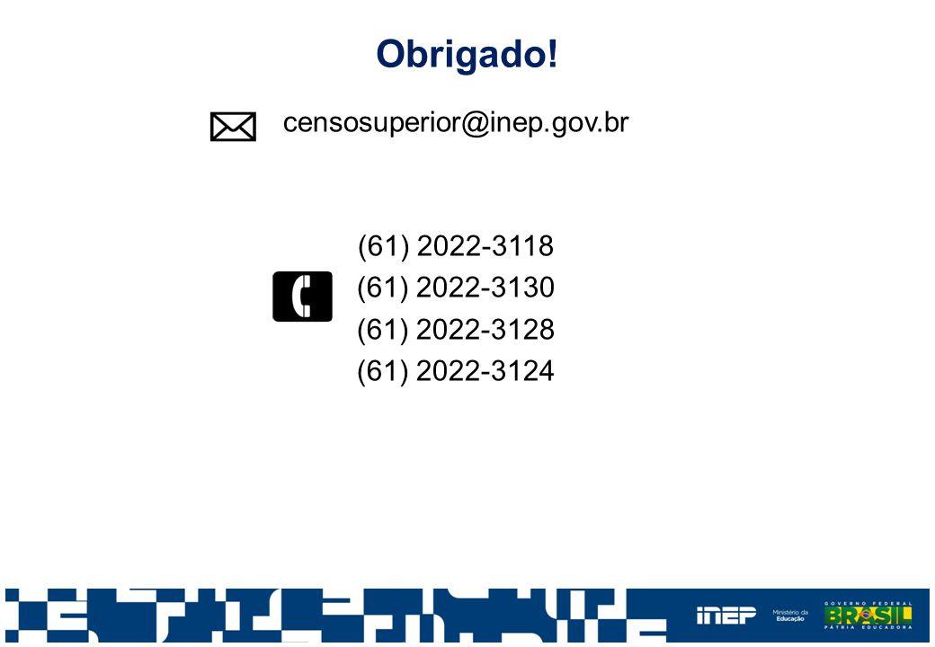 Obrigado! censosuperior@inep.gov.br (61) 2022-3118 (61) 2022-3130