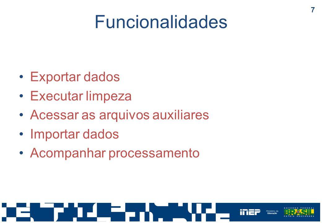 Funcionalidades Exportar dados Executar limpeza