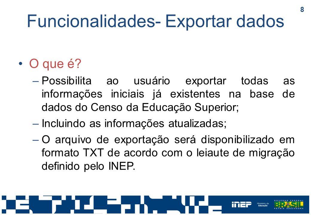 Funcionalidades- Exportar dados