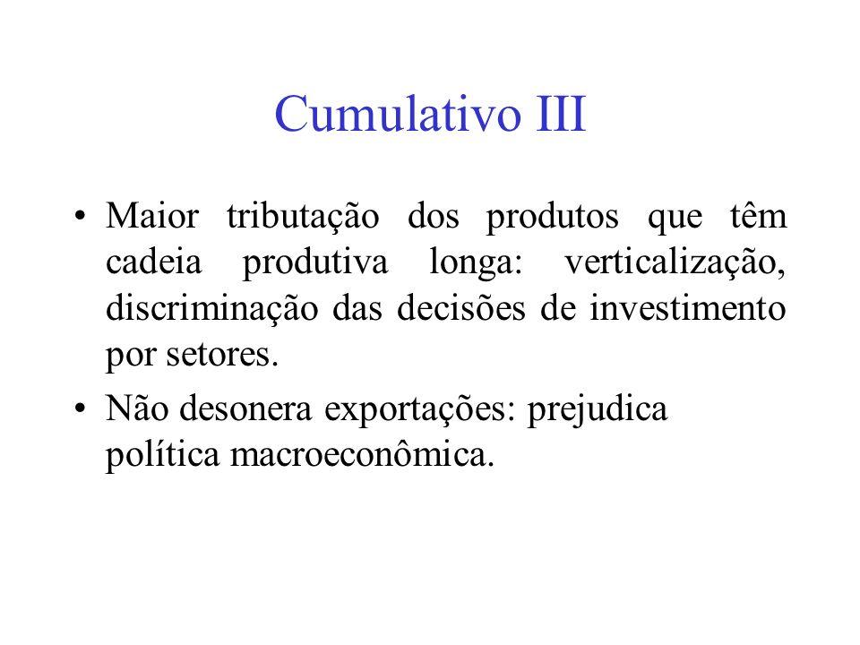 Cumulativo III Maior tributação dos produtos que têm cadeia produtiva longa: verticalização, discriminação das decisões de investimento por setores.