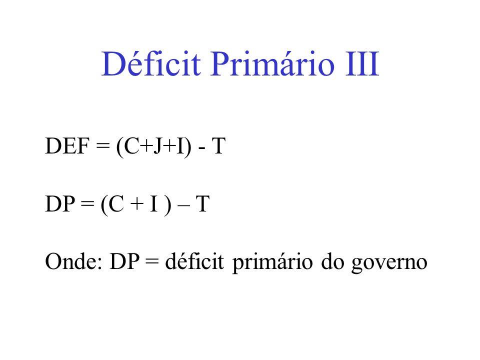 Déficit Primário III DEF = (C+J+I) - T DP = (C + I ) – T
