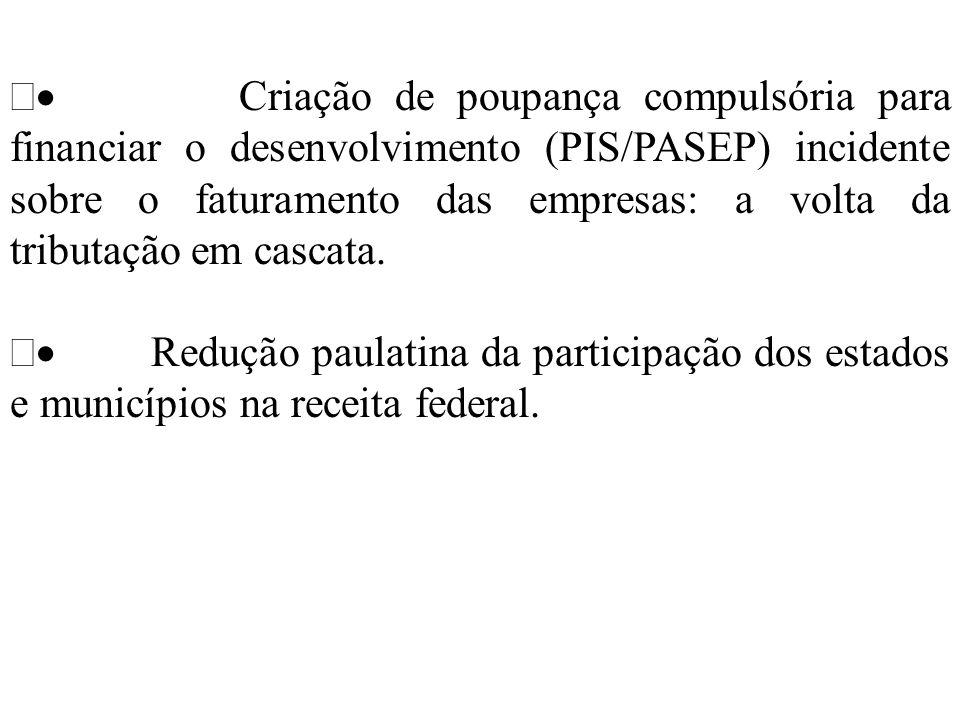 · Criação de poupança compulsória para financiar o desenvolvimento (PIS/PASEP) incidente sobre o faturamento das empresas: a volta da tributação em cascata.
