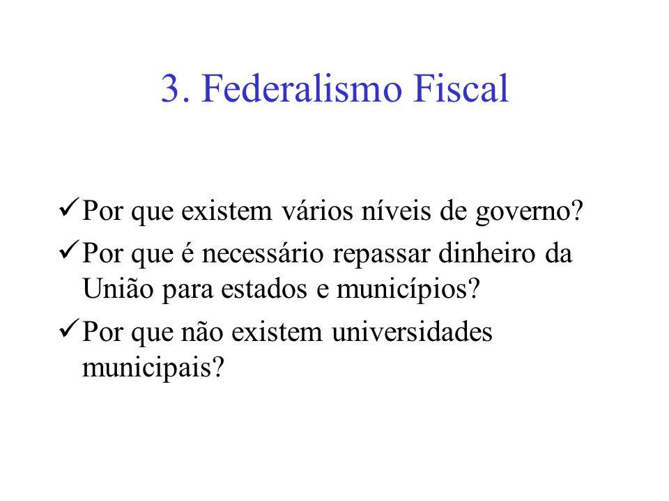 3. Federalismo Fiscal Por que existem vários níveis de governo