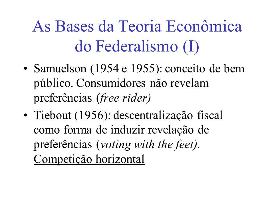 As Bases da Teoria Econômica do Federalismo (I)