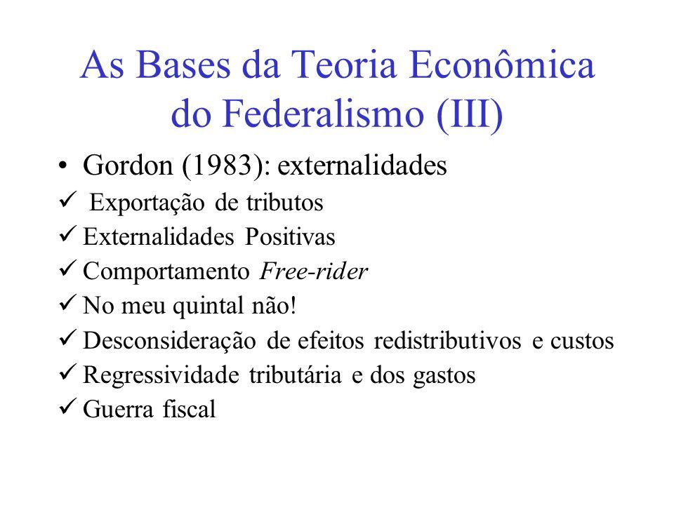 As Bases da Teoria Econômica do Federalismo (III)