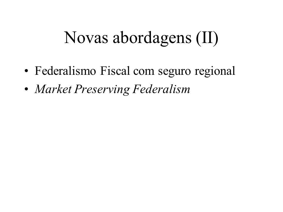 Novas abordagens (II) Federalismo Fiscal com seguro regional