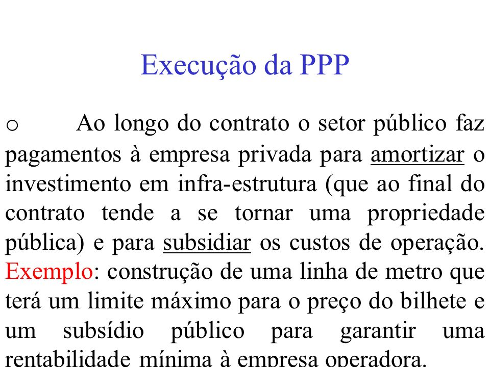 Execução da PPP