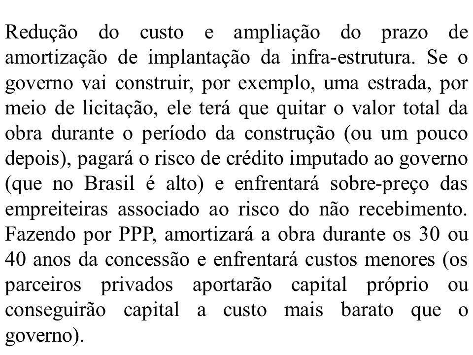 Redução do custo e ampliação do prazo de amortização de implantação da infra-estrutura.