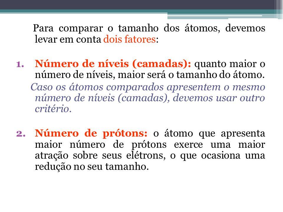 Para comparar o tamanho dos átomos, devemos levar em conta dois fatores: