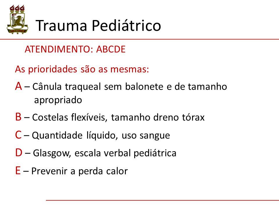 Trauma Pediátrico ATENDIMENTO: ABCDE. As prioridades são as mesmas: A – Cânula traqueal sem balonete e de tamanho apropriado.