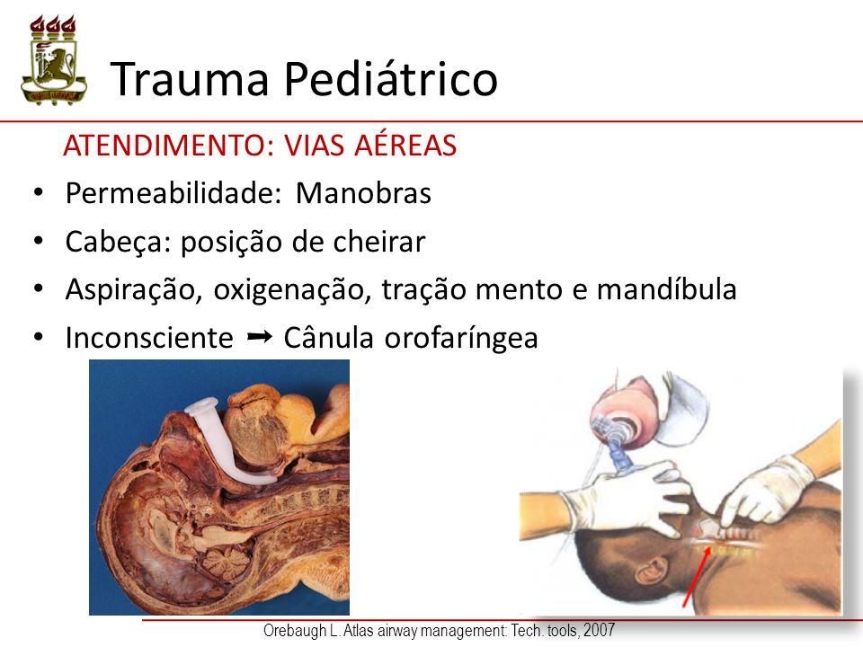 Trauma Pediátrico ATENDIMENTO: VIAS AÉREAS Permeabilidade: Manobras