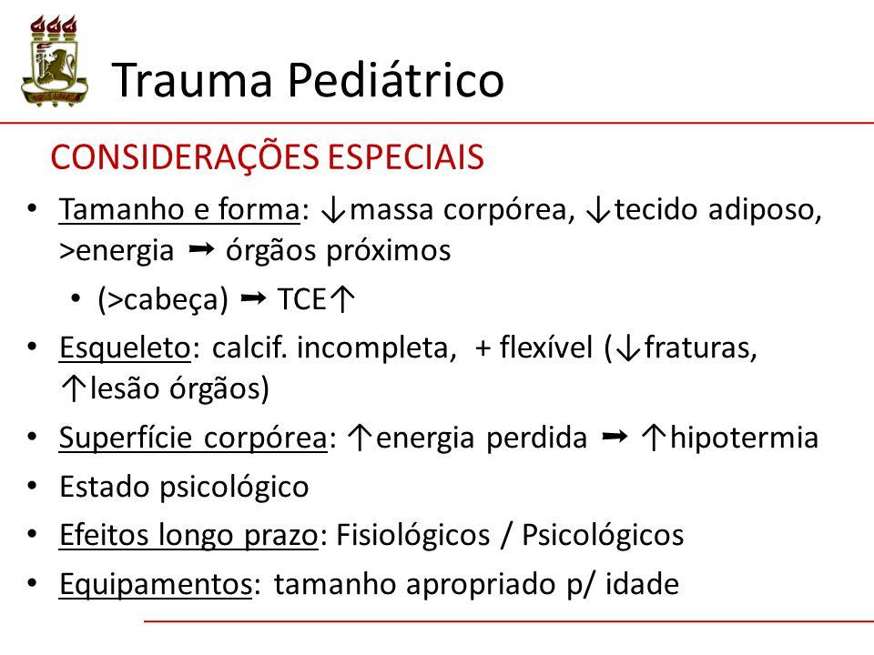 Trauma Pediátrico CONSIDERAÇÕES ESPECIAIS