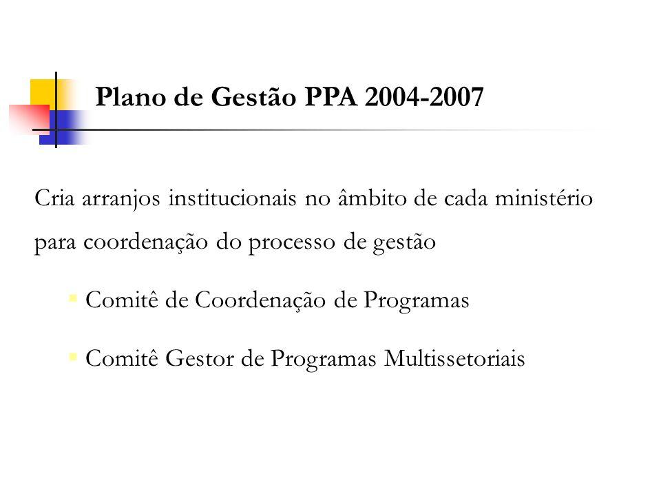 Plano de Gestão PPA 2004-2007 Cria arranjos institucionais no âmbito de cada ministério para coordenação do processo de gestão.