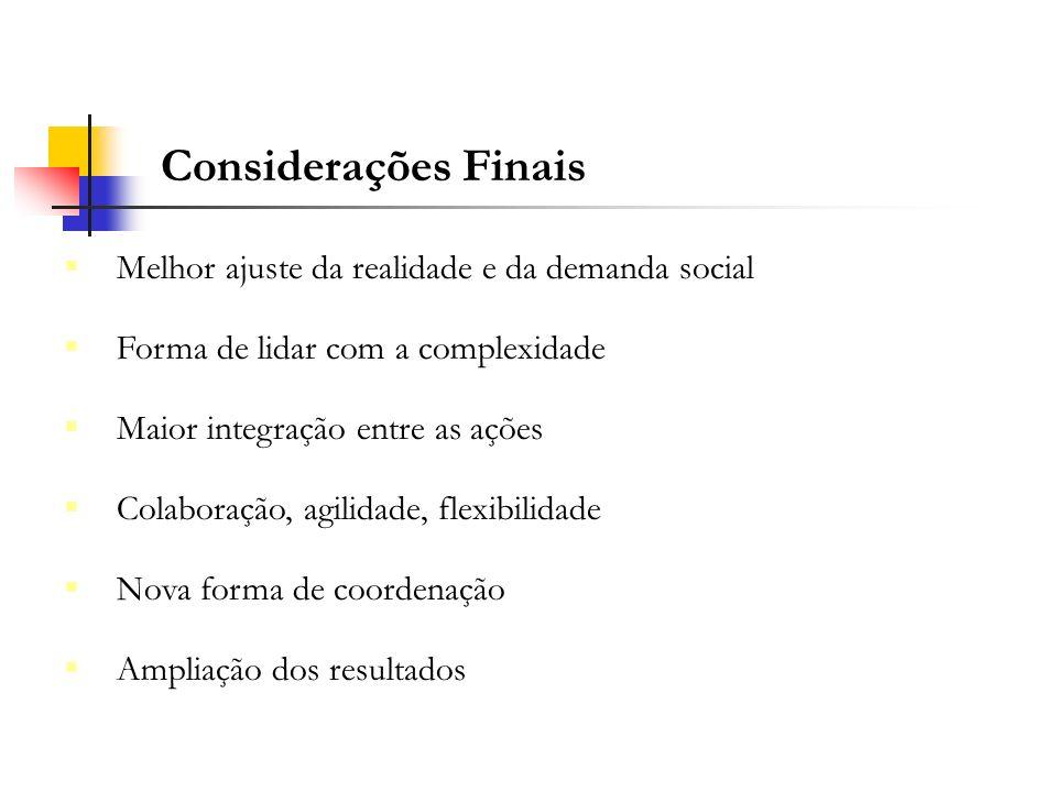 Considerações Finais Melhor ajuste da realidade e da demanda social